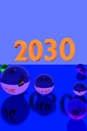 prediction: 3D rendering of colorful glass balls on reflective surface and the year 2030 in big numbers