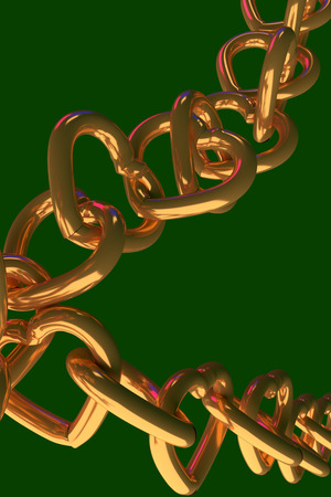 3D rendering of chains of golden hearts with green background