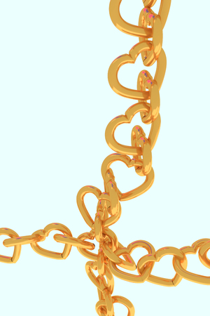 3D rendering of chains of golden hearts with light blue background Stock Photo