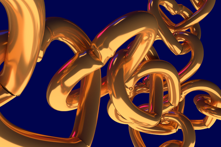 3D rendering of chains of golden hearts with blue background Stock Photo