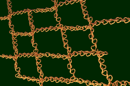 3D rendering of chains of golden hearts forming a net Stock Photo