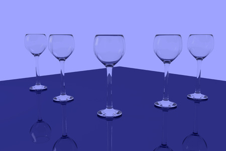 3D rendering of empty wine glasses standing on a shiny surface