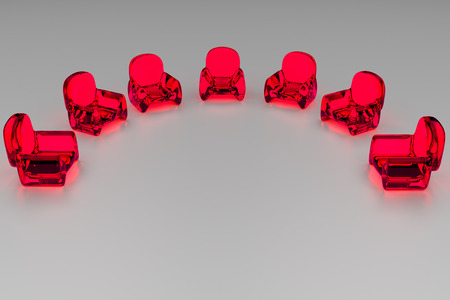 3D rendering of futuristic, transparent seating - Arranged on a light surface