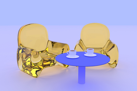 3D rendering of transparent seating and a table standing on a white surface