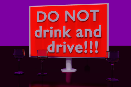 3D rendering of DO NOT drink and drive! on big information signs standing on a dark red glossy plane