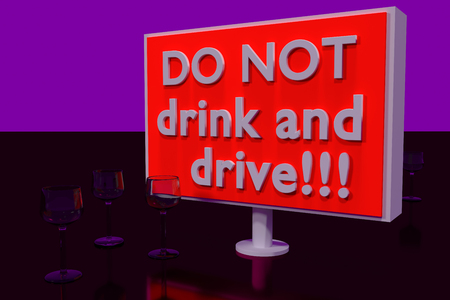 ductile: 3D rendering of DO NOT drink and drive! on big information signs standing on a dark red glossy plane