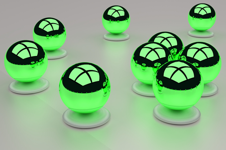 3D rendering of an assembly of glossy balls on a white surface Stock fotó