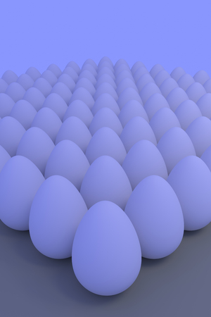 3D rendering of Numerous white eggs in slightly bluish ambient light, stood Which on a light brown surface