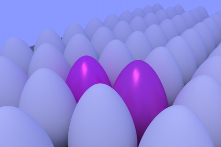 Numerous eggs in slightly bluish ambient light ... some are different ...