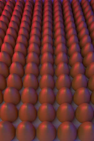 3D rendering of various golden eggs, arranged in rows, in blue and red light Stok Fotoğraf - 77597099
