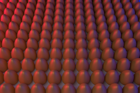3D rendering of various golden eggs, arranged in rows, in blue and red light