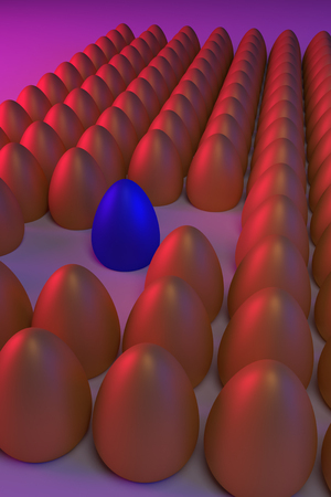 3D rendering of various golden eggs, arranged in rows, in blue and red light: some are different
