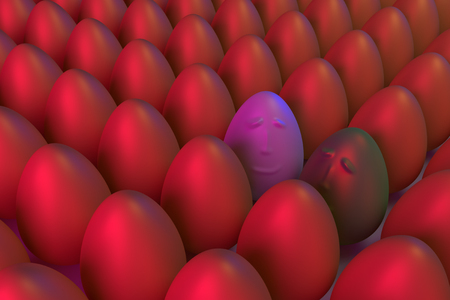 3D rendering of various golden eggs, arranged in rows, in blue and red light: some are different Stok Fotoğraf - 78199901