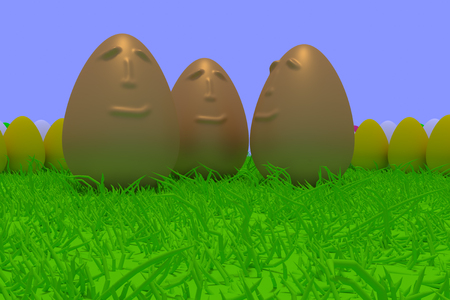 3d rendering of smiling golden eggs surrounded by colored eggs standing on green grass with light blue background Stock Photo