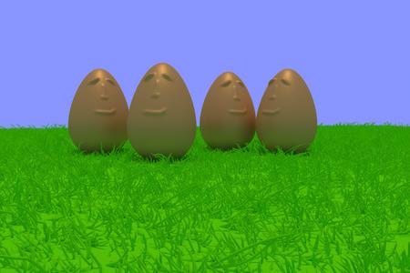 Representación 3D de huevos de oro sonrientes que se colocan en hierba verde con el fondo azul claro