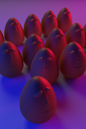 3D rendering of golden eggs in blue and pink light Stok Fotoğraf