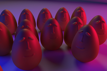 3D rendering of golden eggs in blue and pink light Фото со стока