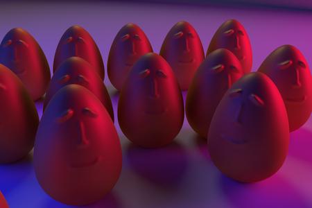 3D rendering of golden eggs in blue and pink light Stok Fotoğraf