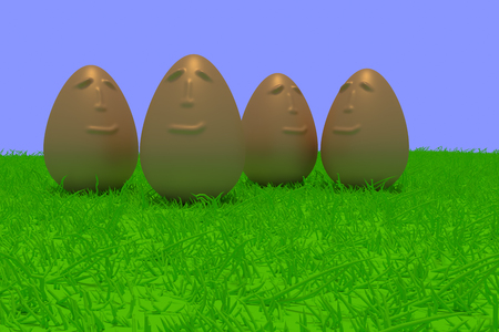 3d rendering of smiling golden eggs standing on green grass with light blue background Stock Photo