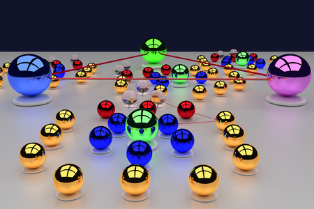 3d rendering of an assembly of glossy balls (connections make you bigger ...) Stock Photo