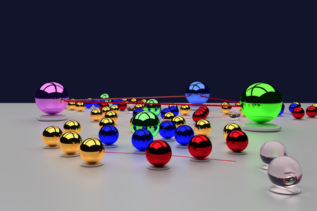 3d rendering of an assembly of glossy balls (connections make you bigger ...) Imagens