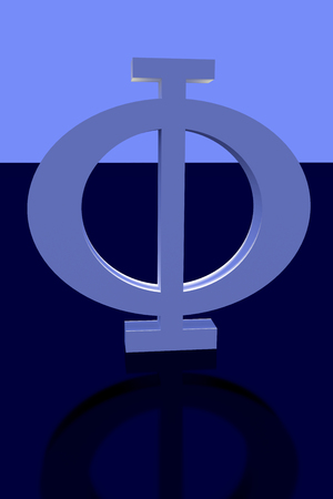 3D rendering of greek capital letter PHI on blue shining, slightly reflecting surface
