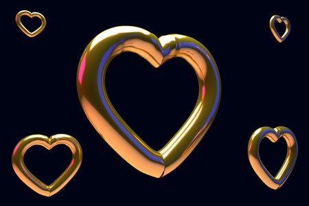 Glossy hearts with a dark blue background