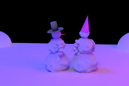 3D rendering of a snowman and a snow woman in pink and light blue light Stock Photo