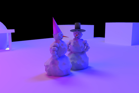 pink and black: 3D rendering of a snowman and a snow woman in pink and light blue light Stock Photo