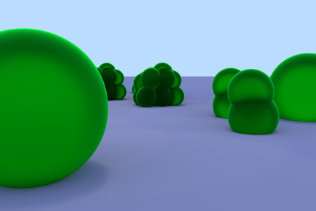 3D rendering of greenish, slightly transparent spheres of different sizes, partly fused, standing on a light surface
