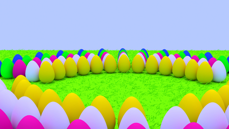 3D rendering of easter eggs standing on green grass