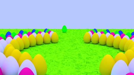 부활절 달걀 녹색 잔디에 서있는 3D 렌더링 스톡 콘텐츠