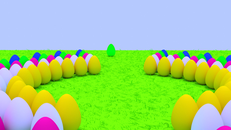 3D rendering of easter eggs standing on green grass Stok Fotoğraf - 90537015