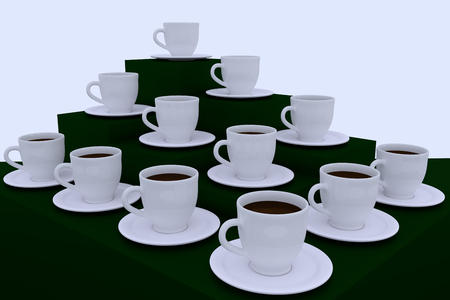 3d illustration of many white coffee cups with saucer Stock fotó