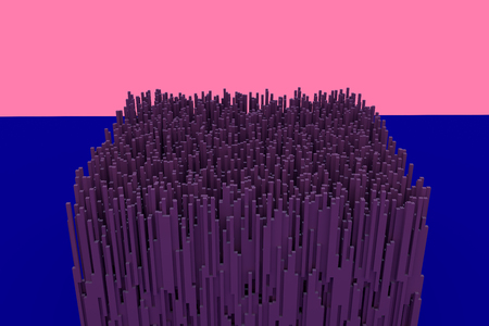 3d illustration of a building resembling a futuristic city made up of hundreds of reddish elongated cuboids with a square base