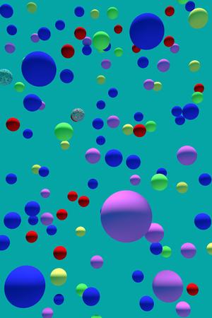 3d illustration of numerous hovering spheres with monochrome background Foto de archivo