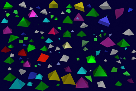 3d illustration of colorful, hovering pyramids with dark blue background