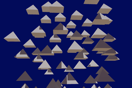 3d illustration of hovering pyramid with dark blue background Zdjęcie Seryjne