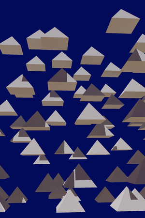 3d illustration of hovering pyramid with dark blue background Banco de Imagens