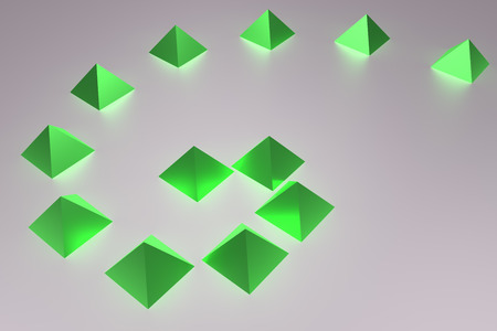 3d illustration of glossy green pyramids, a white surface and a dark blue background