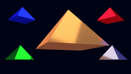 3d illustration of shiny, floating pyramids with square base in front of dark blue background