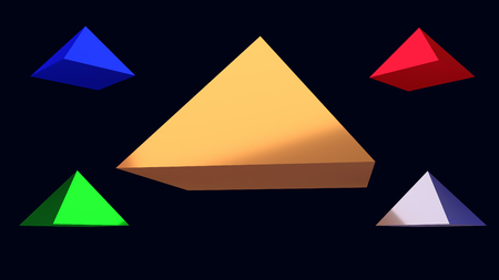 3d illustration of hovering glossy pyramid and a dark blue background Imagens