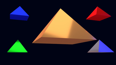 3d illustration of hovering glossy pyramid and a dark blue background 스톡 콘텐츠