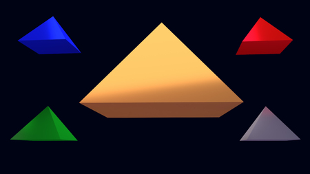 3d illustration of hovering glossy pyramid and a dark blue background Foto de archivo