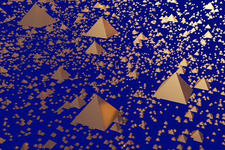 3d illustration of hovering, glossy golden pyramid and a blue background