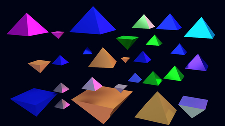 3d illustration of hovering glossy pyramids and a blue background Foto de archivo