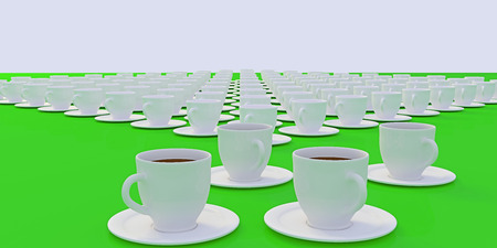 3D rendering of white coffee cups with saucer standing on a glossy plane Stock Photo