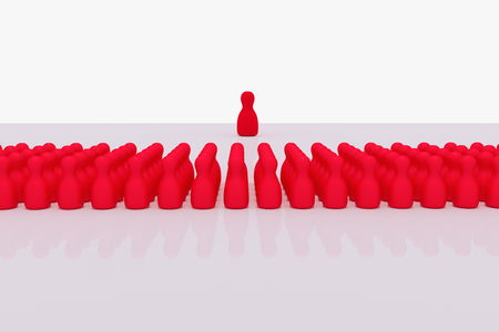 3D rendering of many red figures standing on a white, glossy surface Stock fotó
