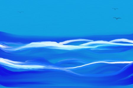 abstract painting of stormy sea with big waves, blue skies and three flying birds