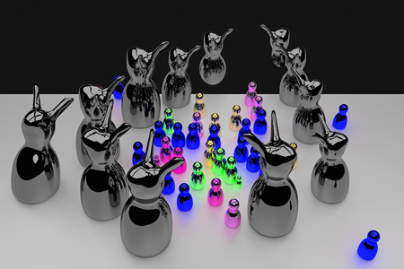 glossy figures on a bright surface celebrating a pretty scary halloween party